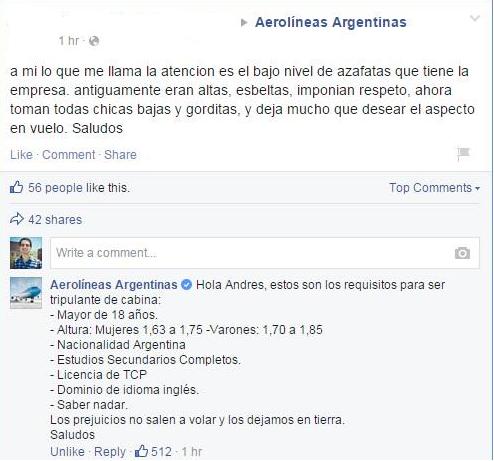aerolineas facebook