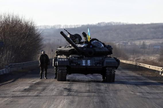 A Ukrainian armed forces tank is pictured on the road near Artemivsk
